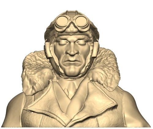 1110 WW1 Pilot bust with upturned collar