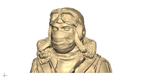 2108 WW2 German Pilot bust in winter gear with harness