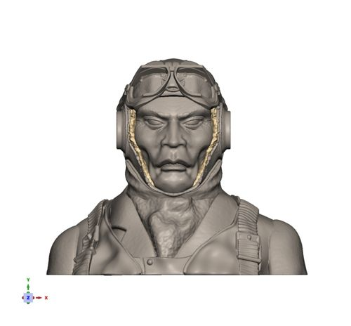 2109 WW2 Japanese Pilot Bust with strapped up helmet