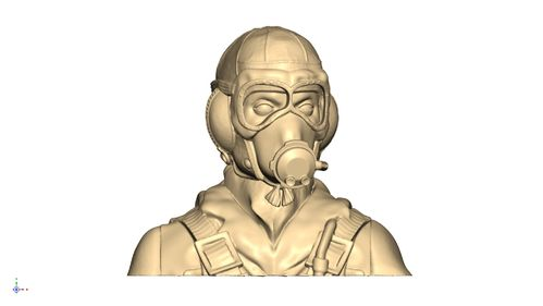 2111 WW2 RAF pilot bust with Type B helmet mask on and goggles down
