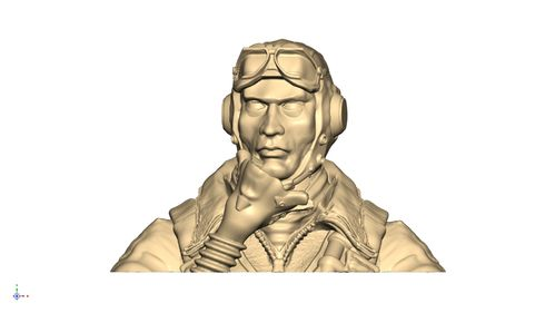 2116 WW2 USAAF pilot bust with helmet and goggles up